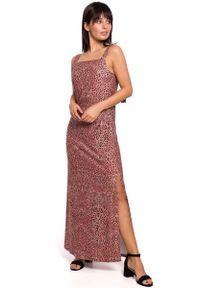 Różowa sukienka wizytowa MOE maxi, na ramiączkach