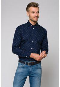 Niebieska koszula Lancerto w kolorowe wzory, casualowa, na co dzień