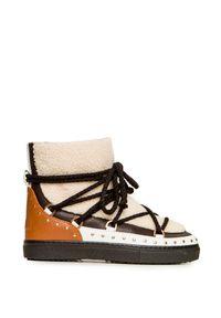 Beżowe buty zimowe Inuikii na zimę, z aplikacjami, rockowe