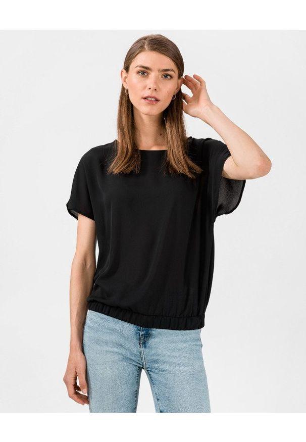 Czarny t-shirt Trussardi Jeans w kolorowe wzory, z okrągłym kołnierzem