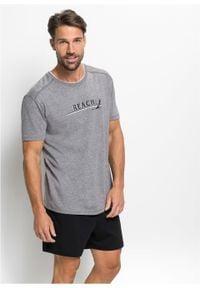 Piżama z krótkimi spodenkami bonprix szary melanż - czarny. Kolor: szary. Długość: krótkie. Wzór: melanż #5