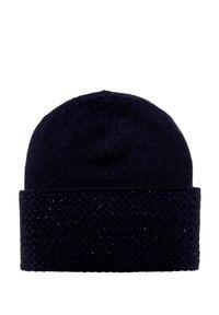 Niebieska czapka William Sharp w kolorowe wzory, elegancka, na zimę