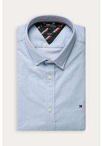 Niebieska koszula TOMMY HILFIGER na co dzień, casualowa, z klasycznym kołnierzykiem