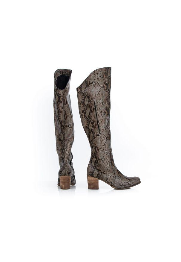 Kozaki Zapato z cholewką za kolano, wąskie, w kolorowe wzory