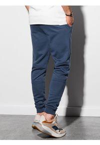 Ombre Clothing - Spodnie męskie dresowe P954 - ciemnoniebieskie - XXL. Kolor: niebieski. Materiał: dresówka. Wzór: gładki