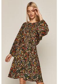 medicine - Medicine - Sukienka Intenso. Kolor: czarny. Materiał: tkanina. Długość rękawa: długi rękaw. Typ sukienki: rozkloszowane