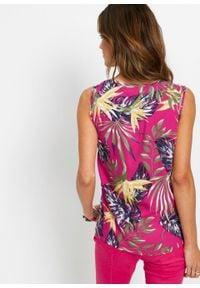 Bluzka bez rękawów z wiskozy bonprix różowa magnolia z roślinnym nadrukiem. Kolor: różowy. Materiał: wiskoza. Długość rękawa: bez rękawów. Wzór: nadruk