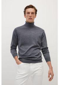 Szary sweter Mango Man z długim rękawem, z golfem, długi