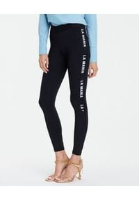 LA MANIA - Czarne legginsy z logo Beatty. Kolor: czarny. Materiał: materiał. Wzór: nadruk, aplikacja. Styl: elegancki, klasyczny, sportowy
