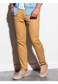 Ombre Clothing - Spodnie męskie chino P894 - ciemnobeżowe - XXL. Kolor: beżowy. Materiał: bawełna, elastan