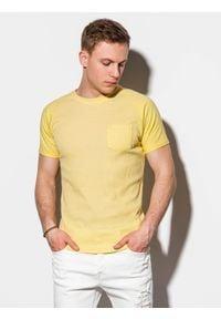 Ombre Clothing - T-shirt męski bez nadruku S1182 - żółty - XXL. Kolor: żółty. Materiał: bawełna, tkanina, poliester. Styl: klasyczny
