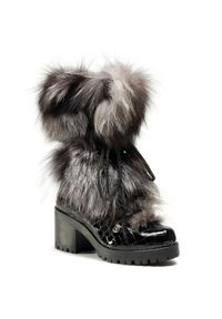 Czarne botki New Italia Shoes na obcasie, na średnim obcasie