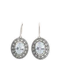 Polcarat Design - Kolczyki srebrne oksydowane z cyrkonią K 1777. Materiał: srebrne. Kolor: srebrny. Wzór: aplikacja. Kamień szlachetny: cyrkonia