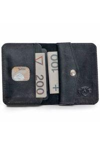 Solier - Skórzany cienki portfel męski z bilonówką SOLIER SW16 SLIM czarny. Kolor: czarny. Materiał: skóra