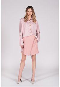 Różowa spódnica VEVA w kolorowe wzory, długa, na wiosnę