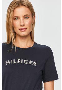 Niebieska bluzka TOMMY HILFIGER na co dzień, casualowa, z nadrukiem