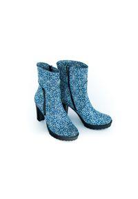 Zapato - ocieplane botki na obcasie - skóra naturalna - model 495 - kolor mozaika. Materiał: skóra. Obcas: na obcasie. Wysokość obcasa: średni