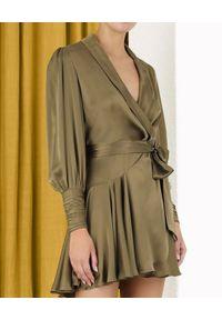 ZIMMERMANN - Jedwabna sukienka mini. Typ kołnierza: dekolt kopertowy. Kolor: zielony. Materiał: jedwab. Typ sukienki: asymetryczne, kopertowe. Długość: mini