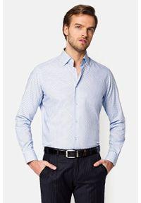 Lancerto - Koszula Błękitna z Nadrukiem Lena. Kolor: niebieski. Materiał: bawełna, tkanina, jeans. Wzór: nadruk