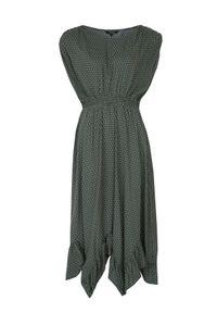 TOP SECRET - Długa sukienka z ozdobnym dołem i wiązaniem przy rękawach. Kolor: zielony. Materiał: dzianina. Sezon: jesień. Długość: maxi