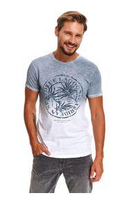 Niebieski t-shirt TOP SECRET z nadrukiem, krótki, z krótkim rękawem