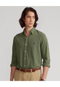 Ralph Lauren - RALPH LAUREN - Zielona koszula Featherweight Mesh. Typ kołnierza: polo. Kolor: zielony. Materiał: mesh. Długość rękawa: długi rękaw. Długość: długie. Wzór: haft
