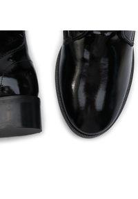 Czarne botki Oleksy na obcasie, na średnim obcasie, z cholewką