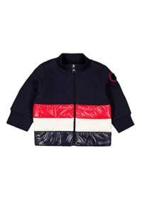 MONCLER KIDS - Granatowa bluza z ociepleniem 0-3 lat. Kolor: niebieski. Materiał: prążkowany, bawełna, puch. Długość rękawa: długi rękaw. Długość: długie. Wzór: aplikacja. Sezon: lato