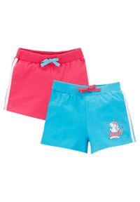 Różowe spodnie bonprix z nadrukiem, krótkie