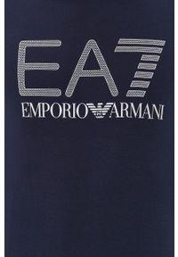EA7 Emporio Armani - Longsleeve. Okazja: na co dzień. Kolor: niebieski. Materiał: dzianina. Długość rękawa: długi rękaw. Wzór: nadruk. Styl: casual