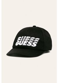 Czarna czapka z daszkiem Guess Jeans z aplikacjami