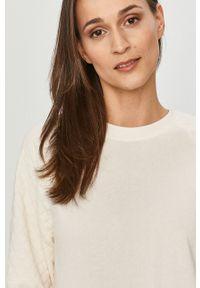 Biała bluza Jacqueline de Yong gładkie, casualowa, z długim rękawem, na co dzień