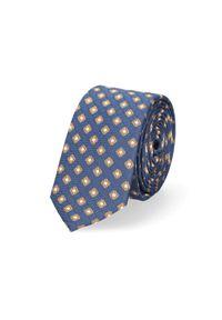 Lancerto - Krawat Granatowo-Brązowy. Kolor: niebieski, brązowy, wielokolorowy. Materiał: tkanina, mikrofibra. Wzór: geometria. Styl: klasyczny