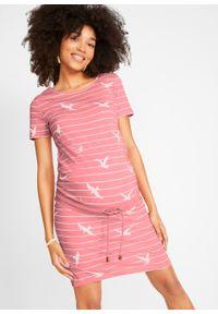 Różowa sukienka bonprix sportowa, moda ciążowa, w paski, sportowa