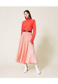 TwinSet - Czerwona tiulowa długa spódnica Twinset. Kolor: czerwony. Materiał: tiul. Długość: długie