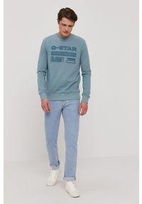 G-Star RAW - G-Star Raw - Bluza. Okazja: na co dzień. Kolor: niebieski. Materiał: poliester. Wzór: nadruk. Styl: casual