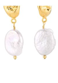SELFIE JEWELLERY - Kolczyki z perłami Monaco. Materiał: srebrne, złote. Kolor: biały. Kamień szlachetny: perła