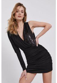 Czarna sukienka Elisabetta Franchi gładkie, mini, dopasowana
