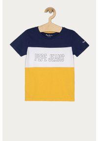 Niebieski t-shirt Pepe Jeans casualowy, na co dzień