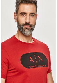 Czerwony t-shirt Armani Exchange na co dzień, casualowy, z nadrukiem