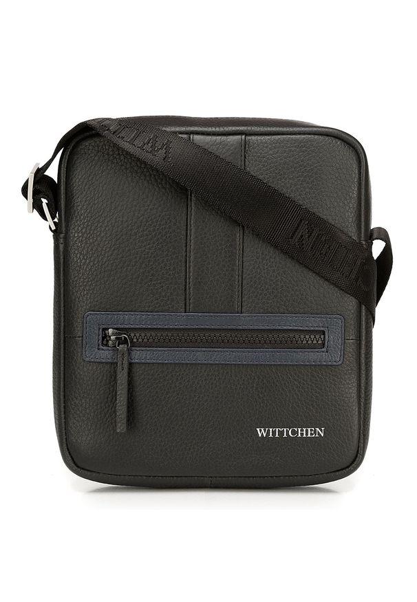 Wittchen - Męska listonoszka skórzana stębnowana mała. Kolor: czarny, niebieski, wielokolorowy. Materiał: skóra. Styl: sportowy, klasyczny, elegancki, casual
