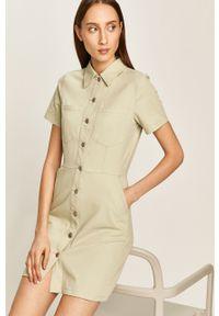 Miętowa sukienka ANSWEAR mini, prosta
