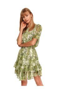 TOP SECRET - Sukienka z falbaną i gumką w talii. Kolor: zielony. Materiał: dzianina. Sezon: lato
