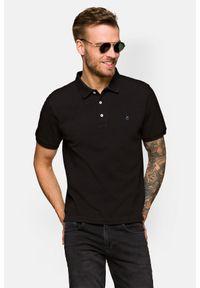 Lancerto - Koszulka Czarna Polo Patrick. Typ kołnierza: polo. Kolor: czarny. Materiał: włókno, tkanina, materiał, bawełna. Wzór: ze splotem, gładki. Styl: klasyczny
