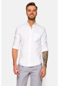 Lancerto - Koszula Biała Rachel. Typ kołnierza: button down. Kolor: biały. Materiał: bawełna, tkanina, jeans. Wzór: ze splotem. Styl: sportowy
