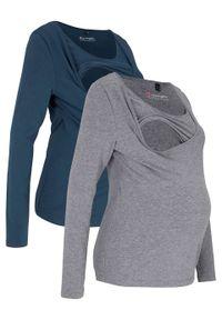 Shirt ciążowy i do karmienia piersią (2 szt.) bonprix Shirt c.i do kar sz.m+c.ni 2sz. Typ kołnierza: dekolt w karo. Kolekcja: moda ciążowa. Kolor: szary