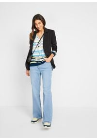 Bluzka tunikowa z nadrukiem, długi rękaw bonprix biel wełny - kremowa limonka w paski. Kolor: biały. Materiał: wełna. Długość rękawa: długi rękaw. Długość: długie. Wzór: nadruk, paski