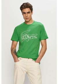 Zielony t-shirt Lacoste na co dzień, z nadrukiem