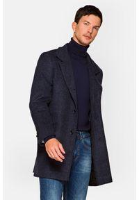 Lancerto - Płaszcz Granatowy w Kratę Conventry. Kolor: niebieski. Materiał: kaszmir, bawełna, jeans, wiskoza, materiał, wełna, syntetyk, acetat, skóra, poliester. Styl: klasyczny