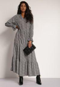 Renee - Czarna Sukienka Ilwena. Kolor: czarny. Wzór: kwiaty, nadruk. Długość: maxi